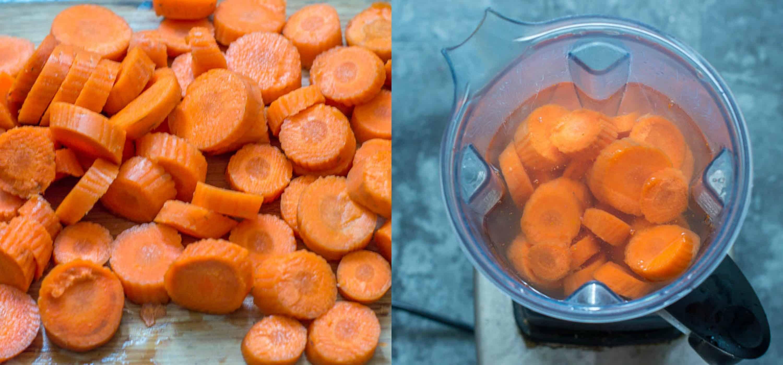 steps 1-2 chopped carrot added to the blender