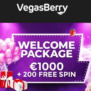 Vegas Berry Casino 200 free spins + 375% up to €1,000 welcome bonus