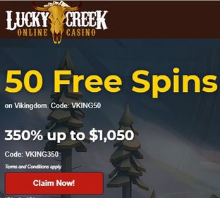 Lucky Creek Casino 50 free chips NDB + $1,050 bonus on deposit