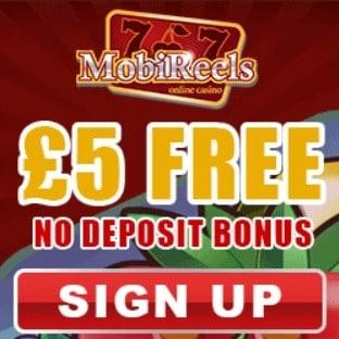 Mobireels Casino 50 free spins and £5 gratis - no deposit bonus