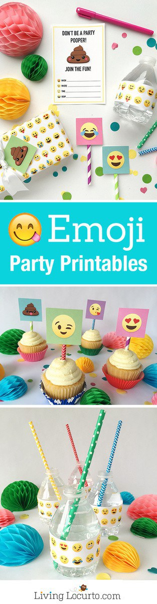 Emoji Party Ideas! Colorful Free Party Printables perfect for any Emoji Fan. Emoji Poop Invitations, Tags, Water Bottles and Gift Wrap. Emoji birthday party fun. LivingLocurto.com