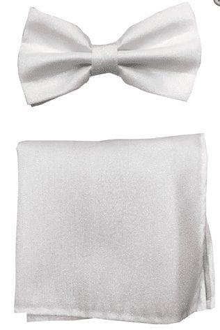 Metallic Lame White Bowtie with Matching Pocket Square Set