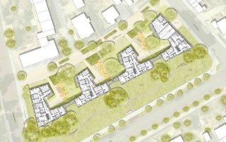 Bild: Lageplan Wettbwerb Johann-Braun-Straße Freising, Plan: ver.de landschaftsarchitektur