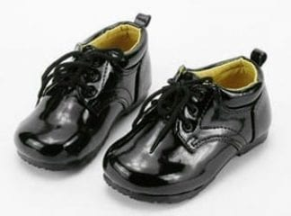 Baby Classic BLACK Patent Leather Lace Up Tuxedo Shoes