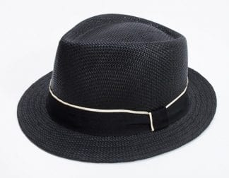 Fedora Hat Black with Feather Satin Strap Ribbon