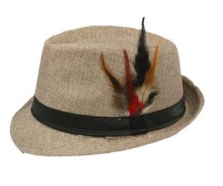 Boys Hats Black Fedora Wool Hat with Feather