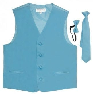 Satin Full Back Boys Vest With Necktie And Bow Tie