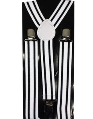 Black and White Checkered Thin Suspenders
