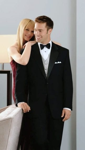 Mens Double Breasted Closeout Black Suit