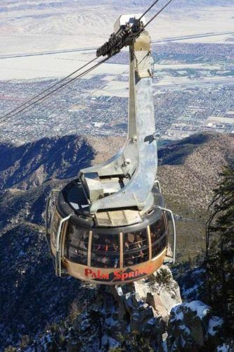 The aerial tram in palm springs ascends from the valley