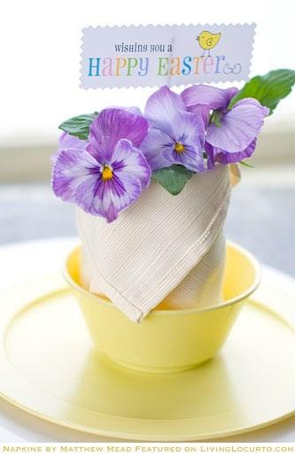 How to fold a Napkin Tutorial - Free Printable Easter Tag LivingLocurto.com