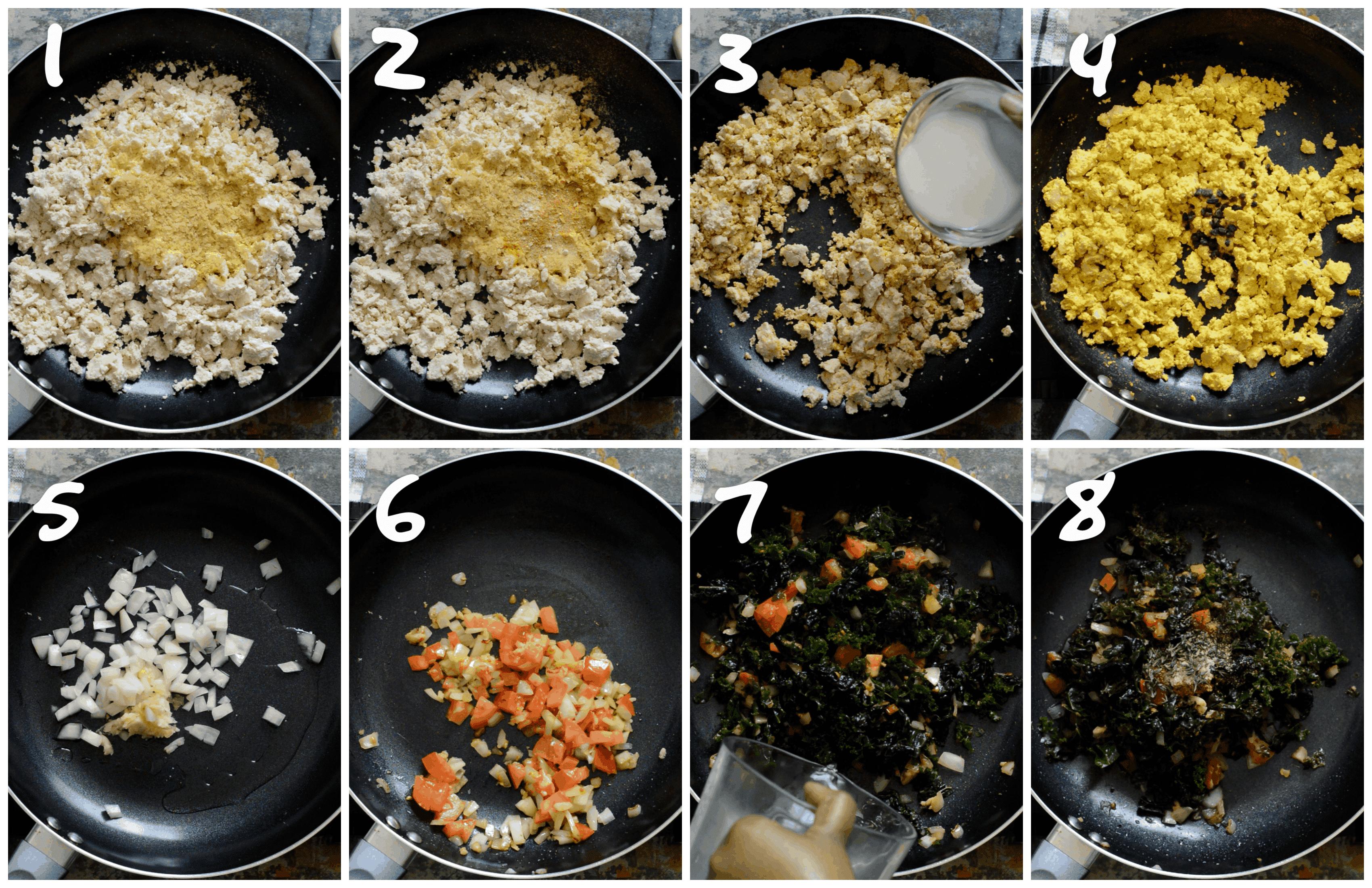 steps1-8 scrambling the tofu and sautéing the greens