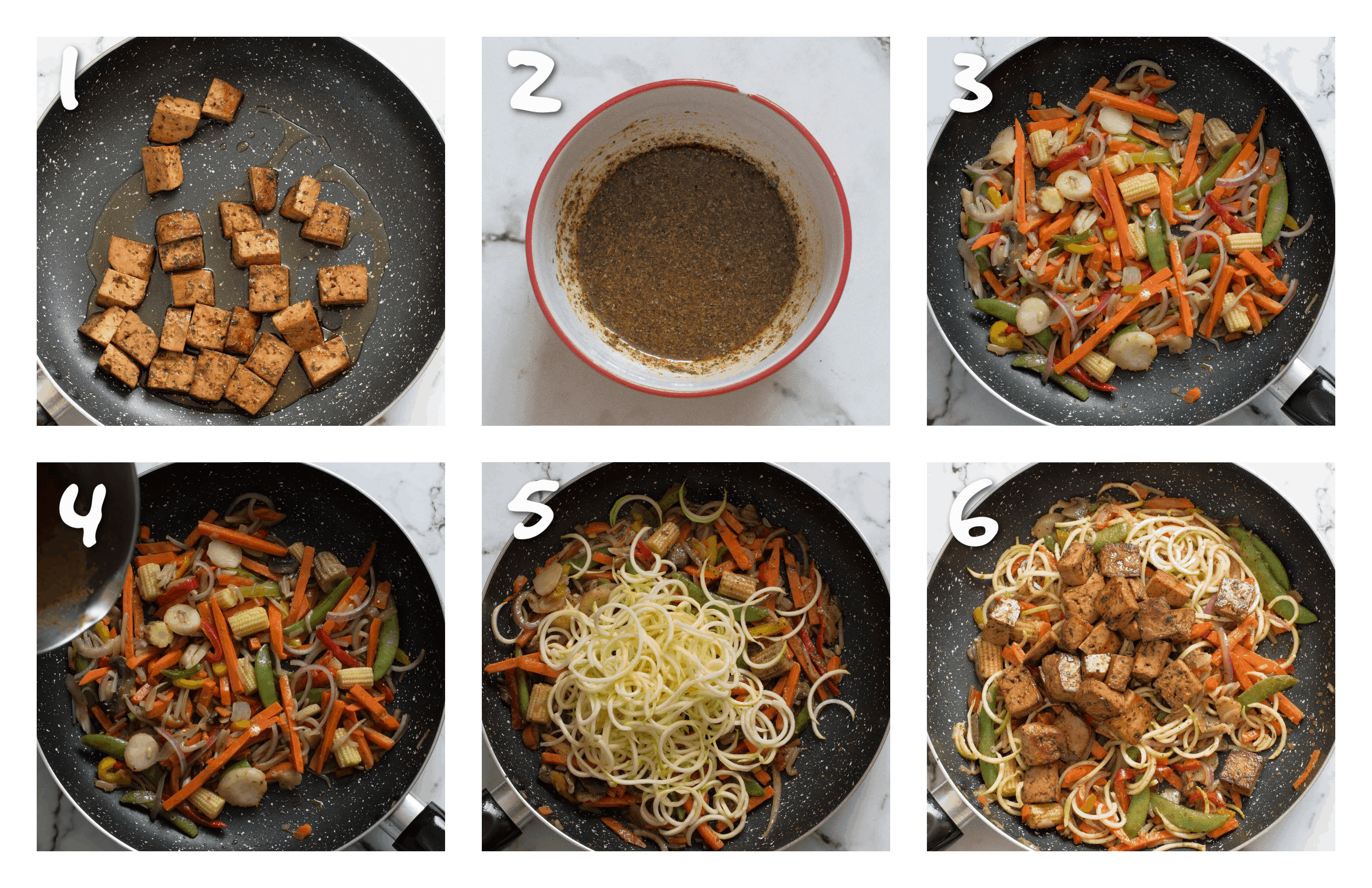 steps1-6 cooking the tofu and the vegetables
