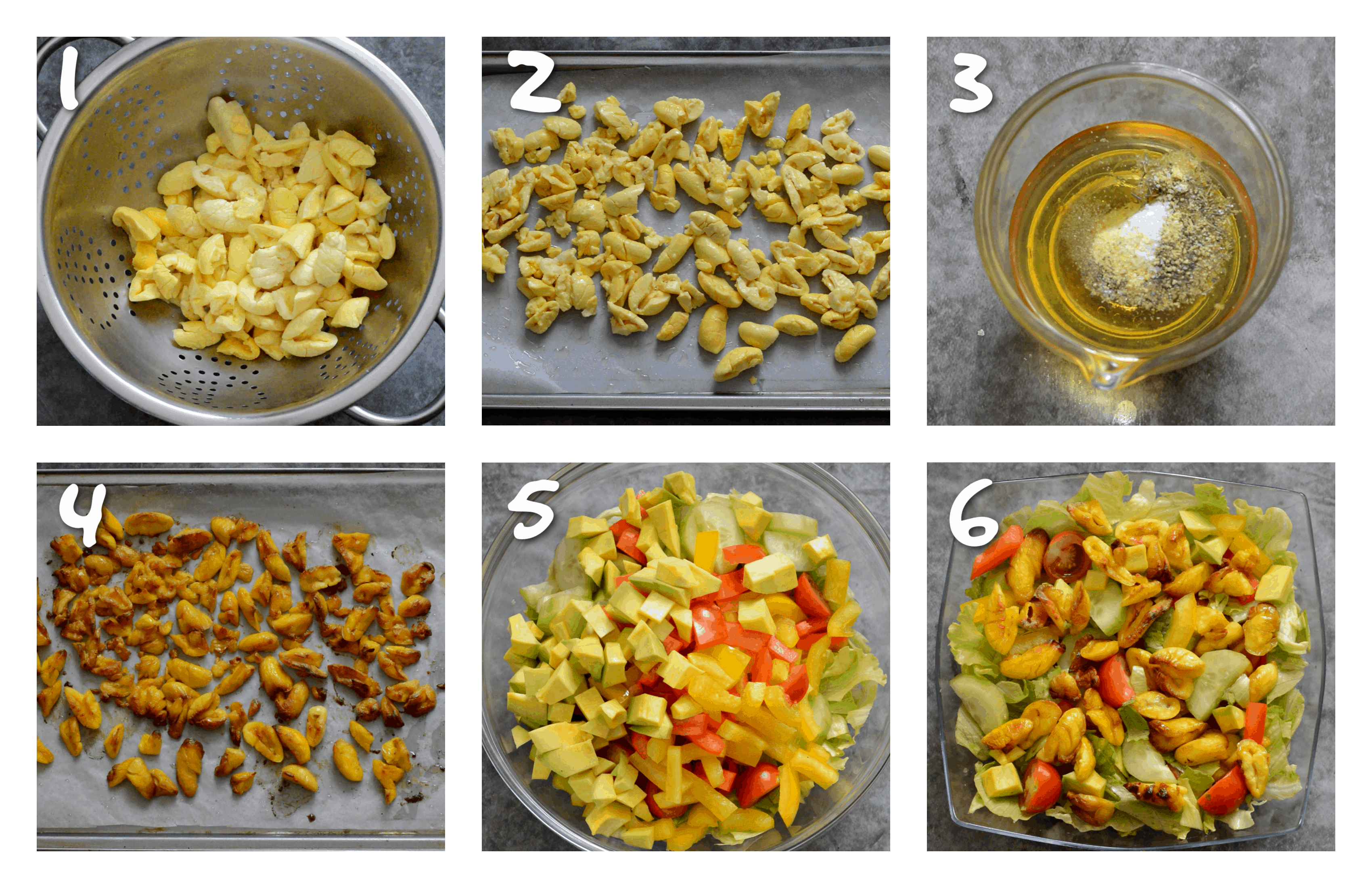 steps1-6 roasting the ackee and making the salad