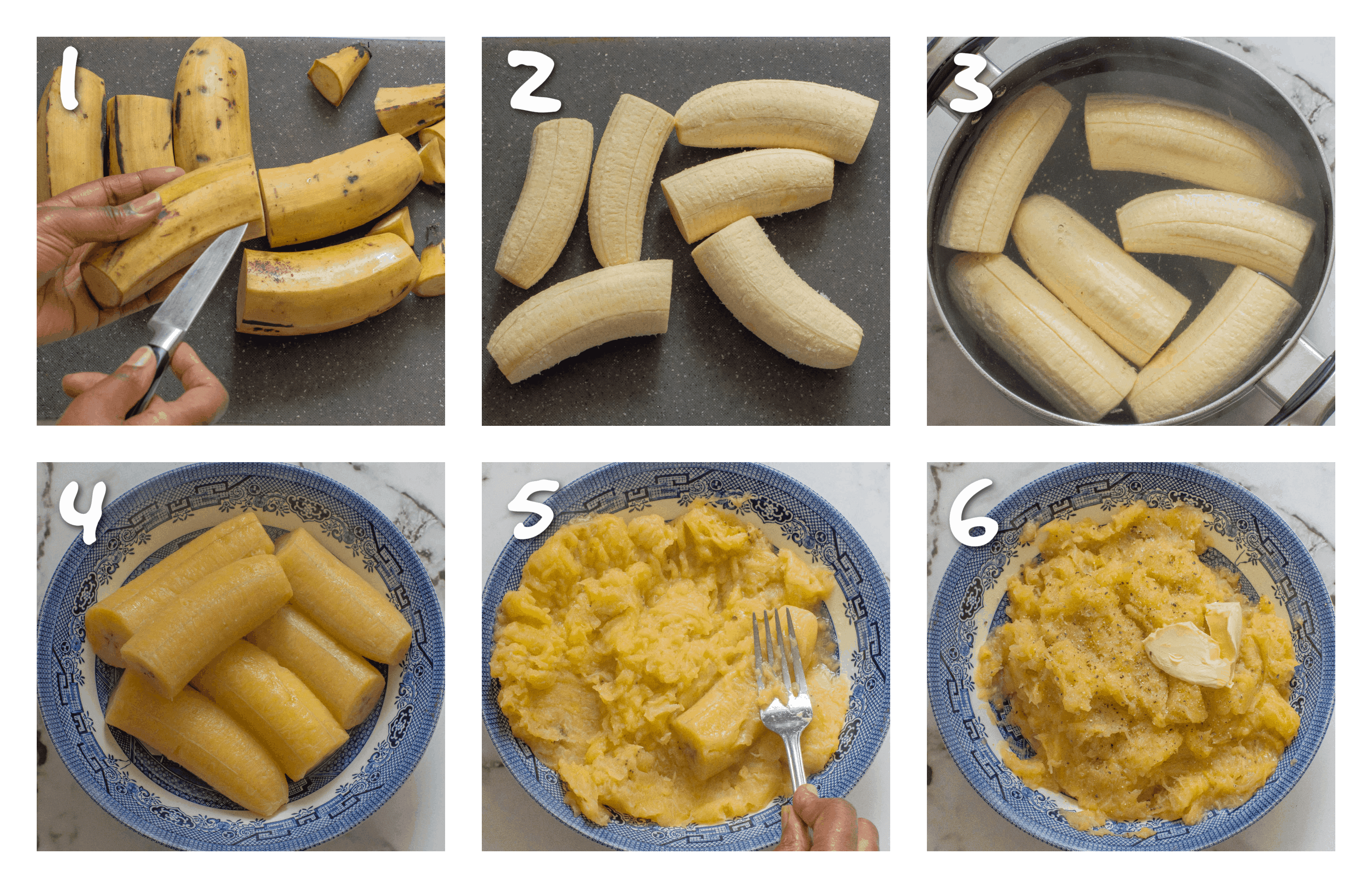 steps1-6 the process of mashing plantain