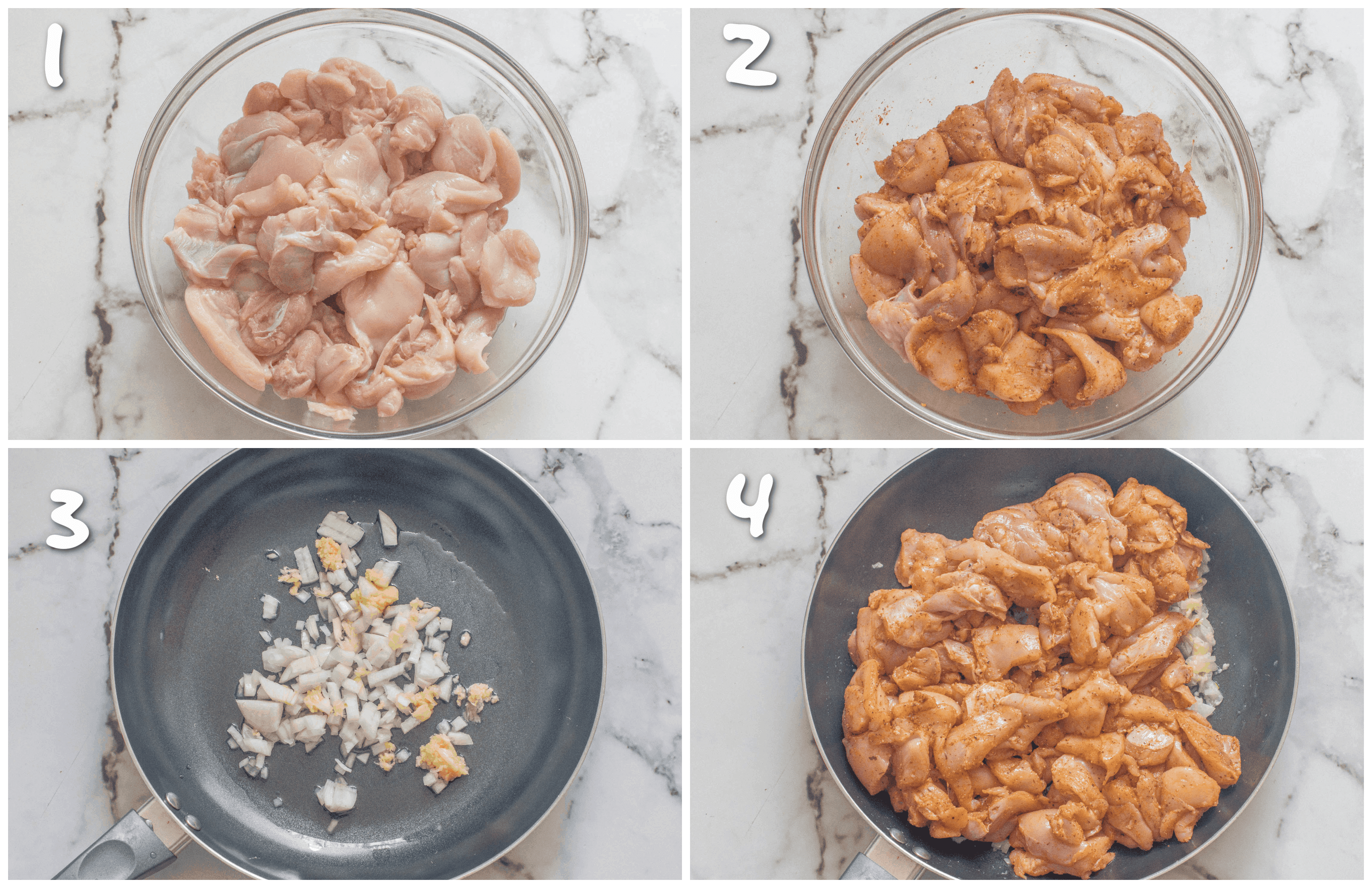 steps1-4 seasoning meat and searing