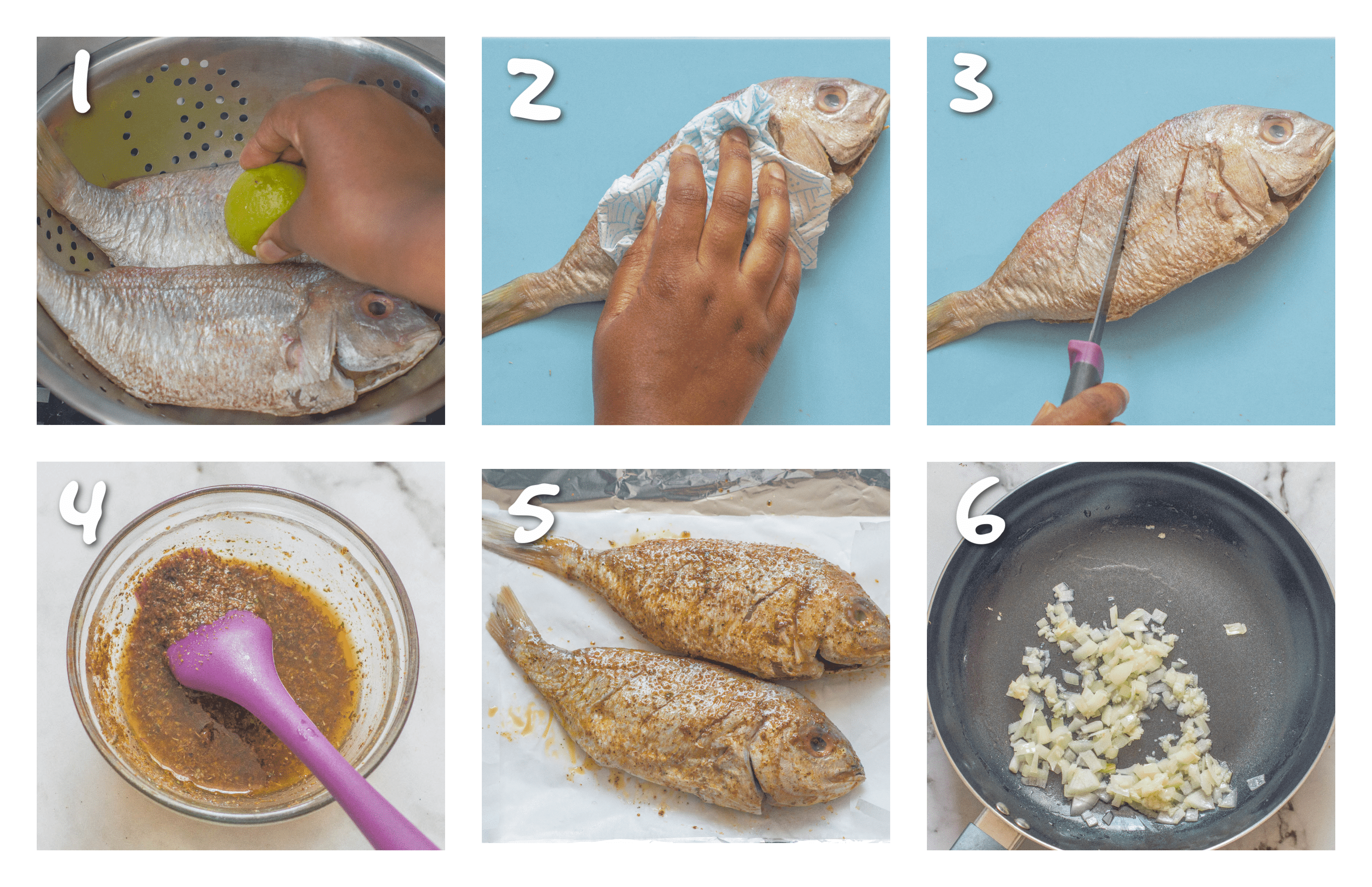 steps1-6 cleaning the fish and seasoning it