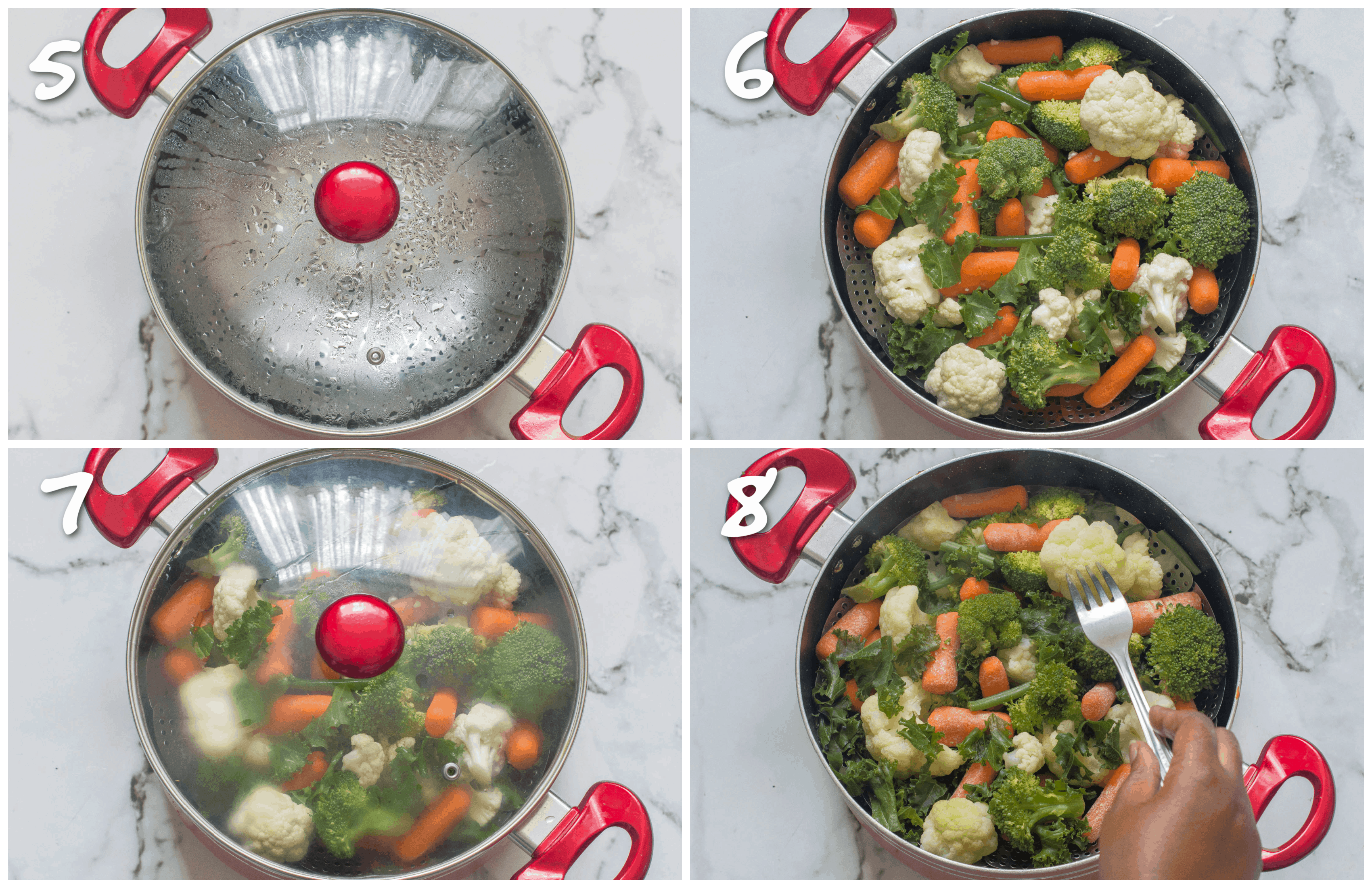 steps 5-8 steaming the vegetables