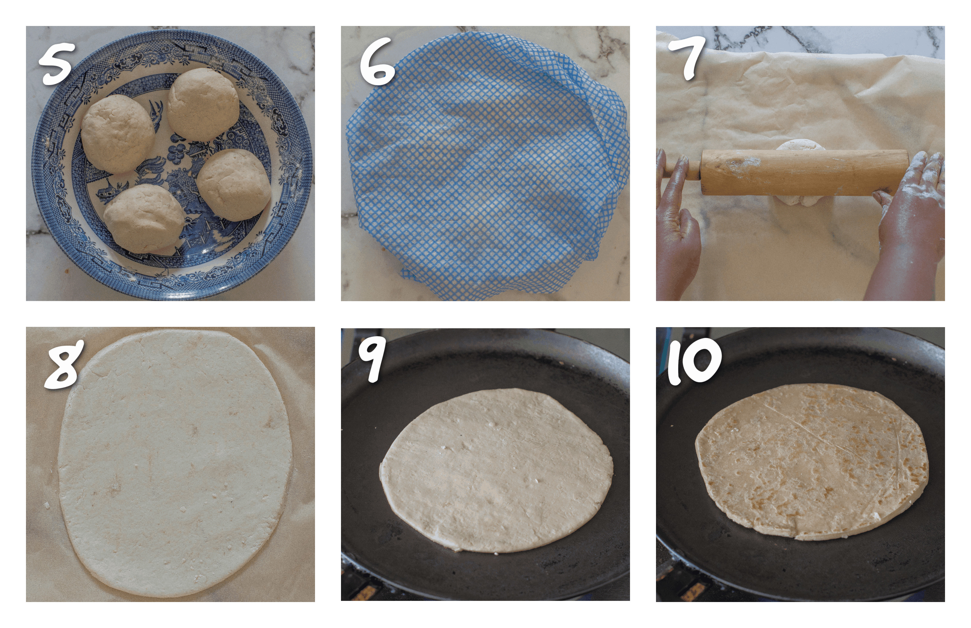 steps 5-10 rolling the dough and then cooking it