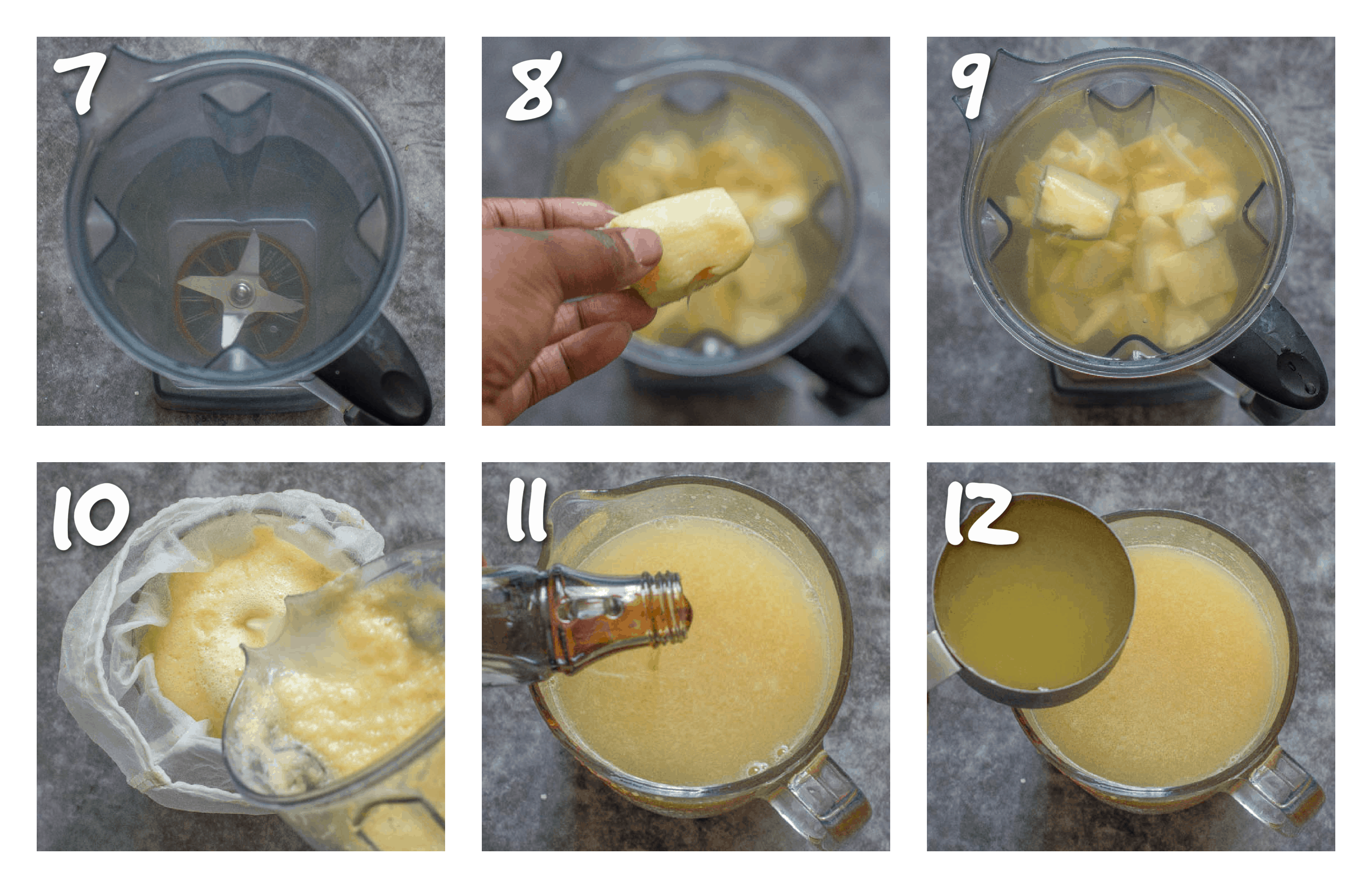steps7-12 adding the fruit to the blender then straining it