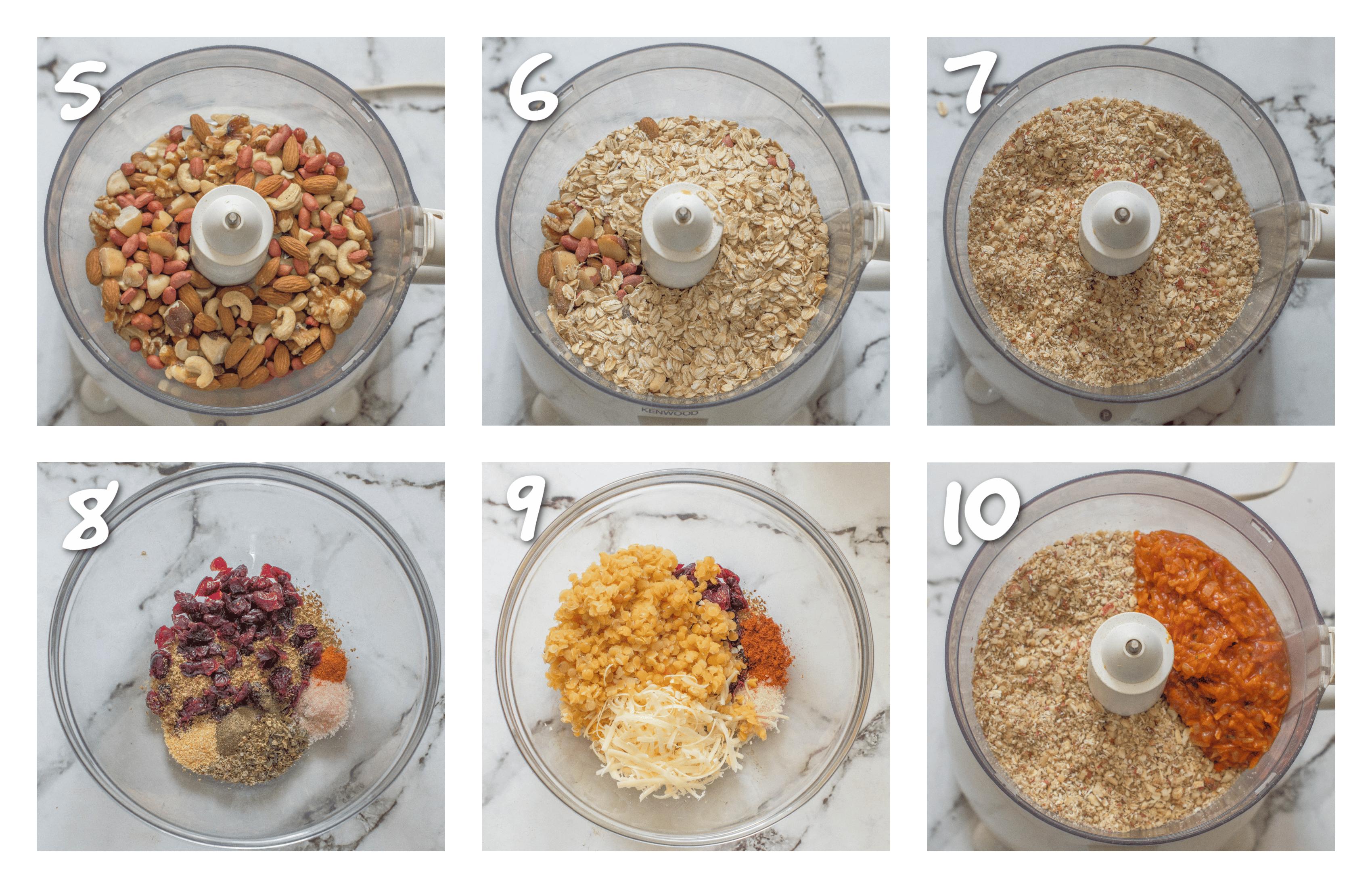 steps 5-10 Preparing dry ingredients for the nut roast