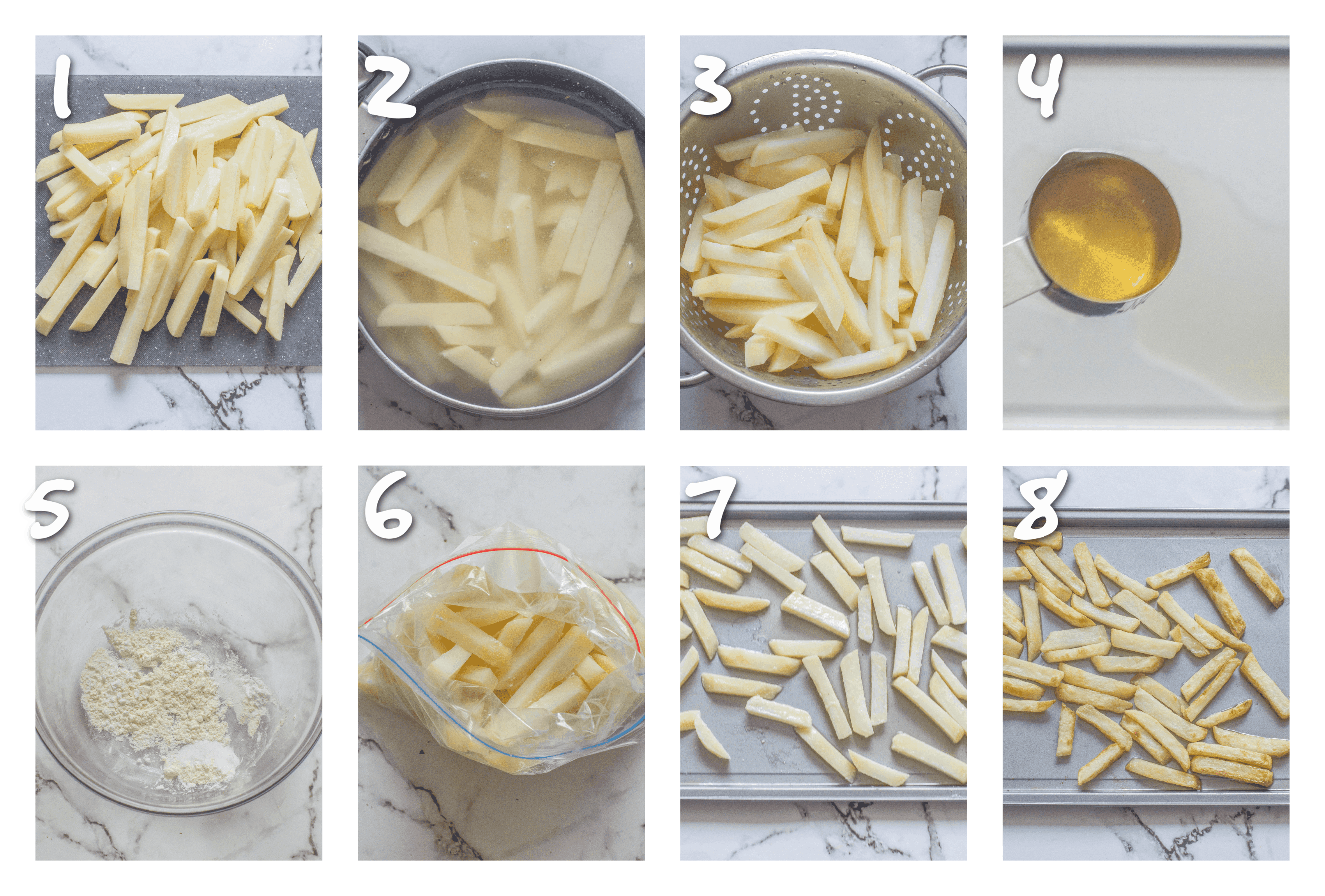 steps1-8 blanching and oven roasting the chips
