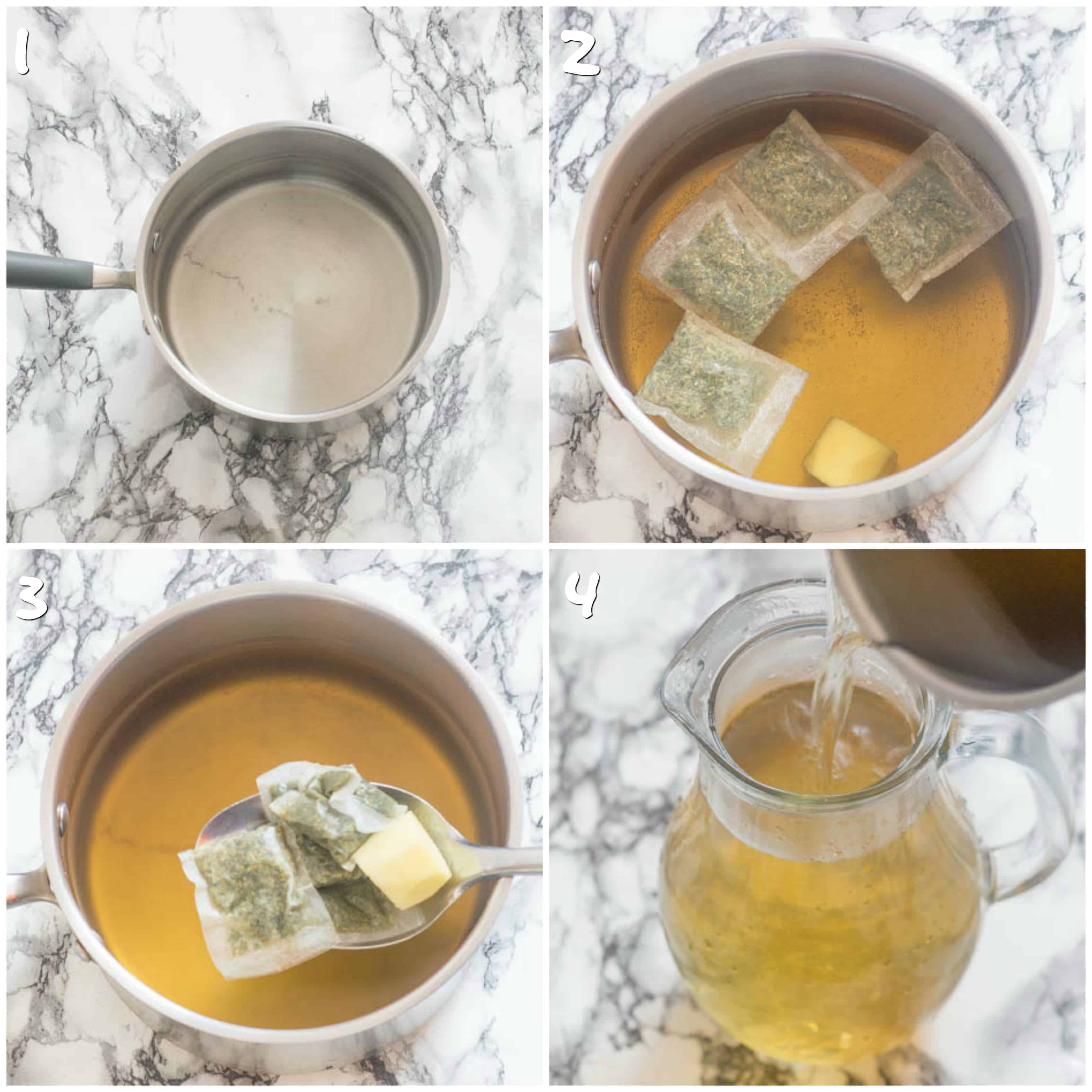 Making iced cersee tea steps 1-4 boiling water and brewing the tea