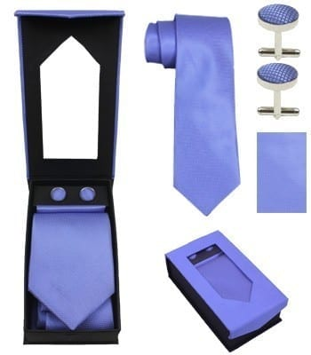 Neck Tie, Pocket Square, and Cuff Links Package All Colors