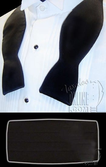 Cummerbunds Bowtie BLACK Silk Self Tie Bow Tie Set