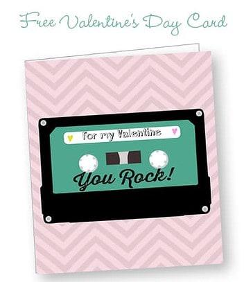 Free Printable Retro Cassette Valentine Card - Design by Angeli for LivingLocurto.com