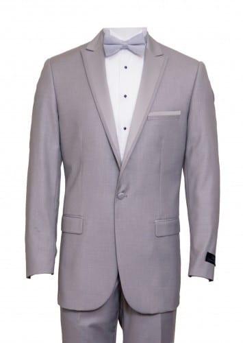 Tuxedo Light Grey High Fashion Framed Peak Lapel Satin-Prom