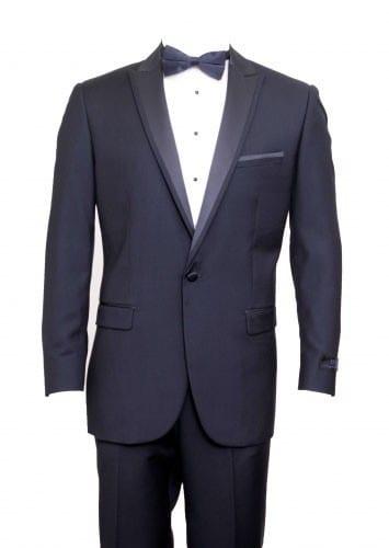 Tuxedo Navy Blue High Fashion Framed Peak Lapel Satin