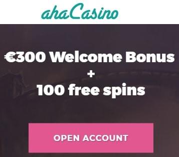 Aha Casino Online & Mobile - 100 free spins and 100% deposit bonus