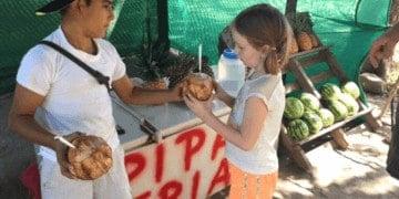 Fresh coconut is a great kids treat in costa rica