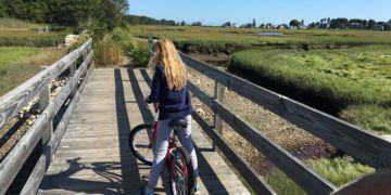 Biking toward the ocean near kennebunk beach, maine