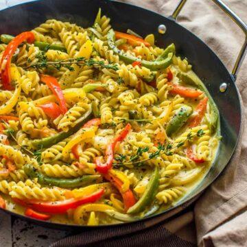 vegan rasta pasta dish side shot