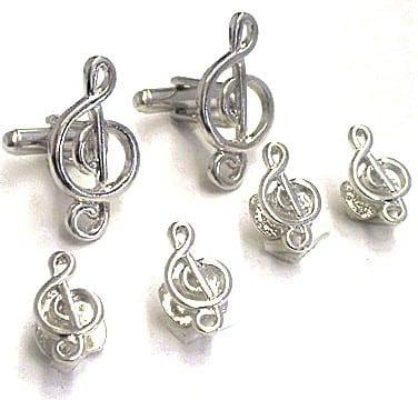 Cufflinks Studs Musical Treble Clef Silver Formal Set