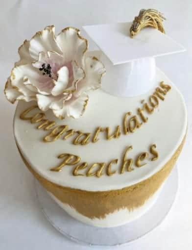 White Cap withGold Tassel Cake, graduation cake design