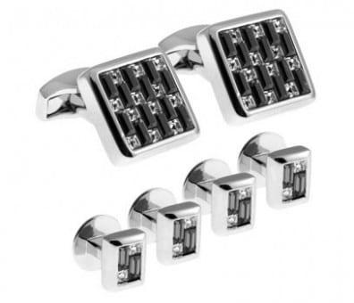 Tateossian Black Interlock Square Cufflink And Stud Set