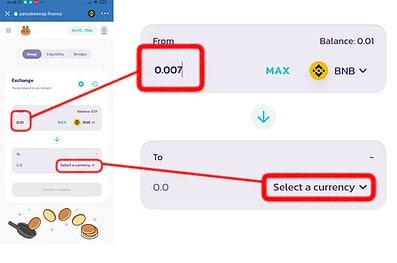 Escolha o valor e a cripto desejada na PancakeSwap