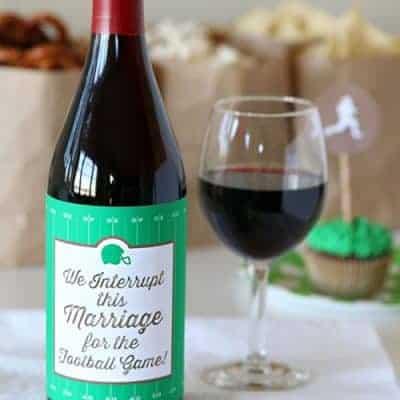 Funny Football Wine Bottle Label