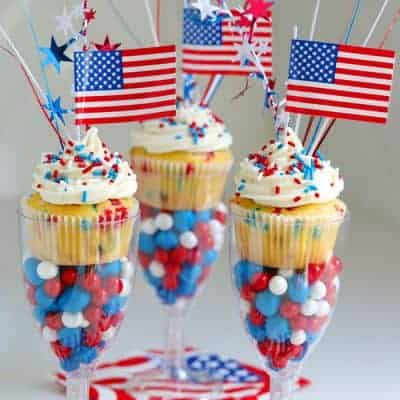 Red, White and Blue Funfetti Cupcakes