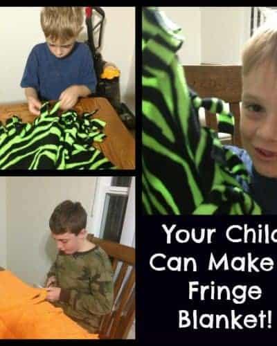 pictures of children making fringe blankets