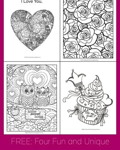 Four fun and unique Valentine's Day coloring pages for kids