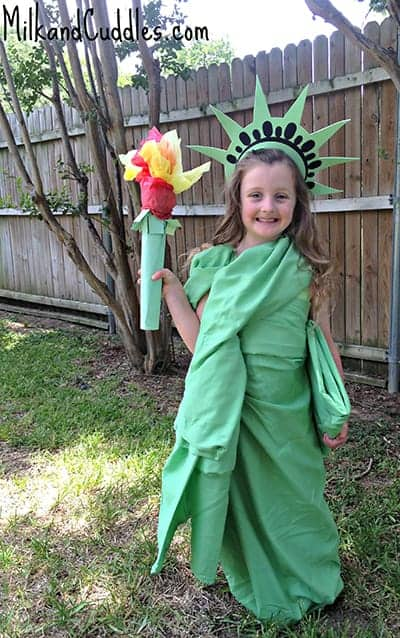 DIY Statue of Liberty Costume by Milk & Cuddles.  featured on LivingLocurto.com