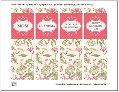 Mothers Day Free Bookmarks
