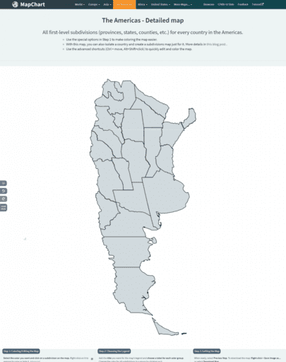 Argentina provinces map isolated