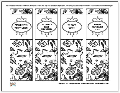 Mothers Day Free coloring sheet Bookmarks