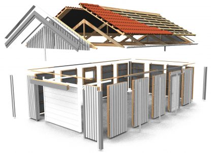 Garage i byggsats (blocksystem)