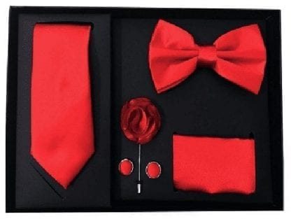 Mens Red 5 Piece Gift Box Set Tie Bow-Tie Lapel Pin Handkerchief and Cufflinks